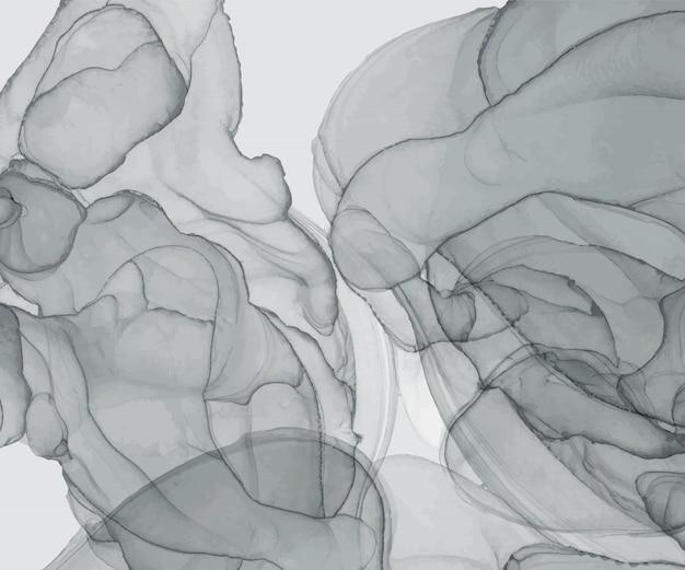 Trama di inchiostro grigio alcool. acquerello dipinto a mano astratto. Vettore Premium