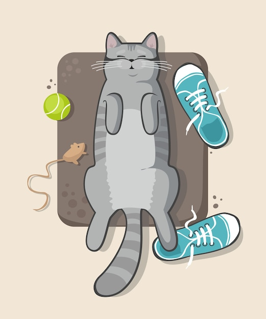 Gatto grigio che dorme sul pavimento con le scarpe da ginnastica Vettore Premium