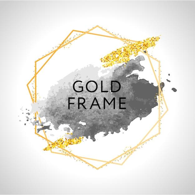Pennellate grigie, nude, pesca, dorate e macchie in cornice rotonda dorata su sfondo bianco. illustrazione. Vettore Premium
