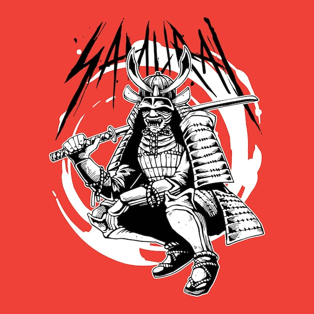 Grande guerriero samurai Vettore Premium