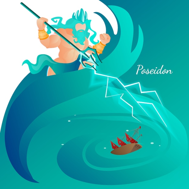 Grecia ancient god poseidon rise between sea waves Vettore Premium