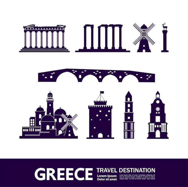Modello di elementi di destinazione di viaggio grecia Vettore Premium