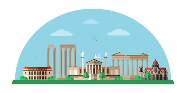 Illustrazione di monumenti di fama mondiale della grecia, paesaggio urbano di atene. Vettore Premium