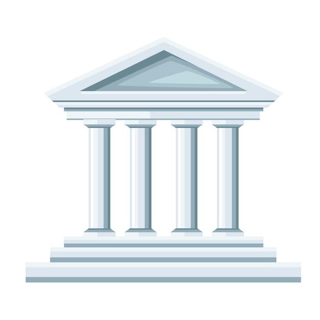 Illustrazione del tempio greco. icona della banca. . illustrazione su sfondo bianco. pagina del sito web e app per dispositivi mobili. Vettore Premium