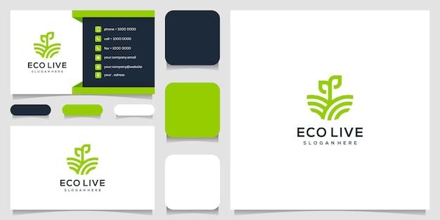 Verde agro natura foglia logo design e biglietto da visita Vettore Premium