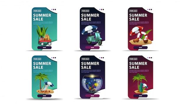 Banner di sconto verde, blu e rosa con elementi estivi e pulsanti per il tuo sito web Vettore Premium