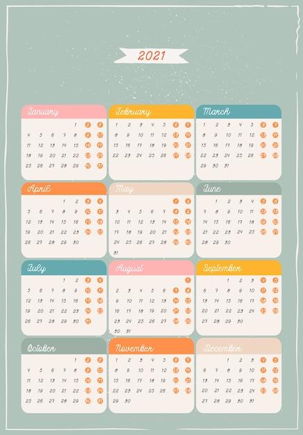 Modello di calendario verde. addobbi e decorazioni natalizie. Vettore Premium