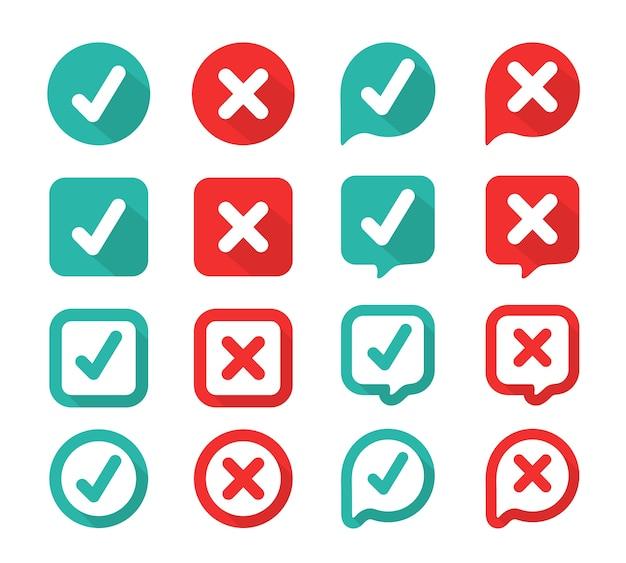 Segno di spunta verde e rosso sbagliato nella casella selezionata. vero o falso Vettore Premium