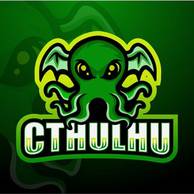Illustrazione verde dell'esport della mascotte di cthulhu Vettore Premium