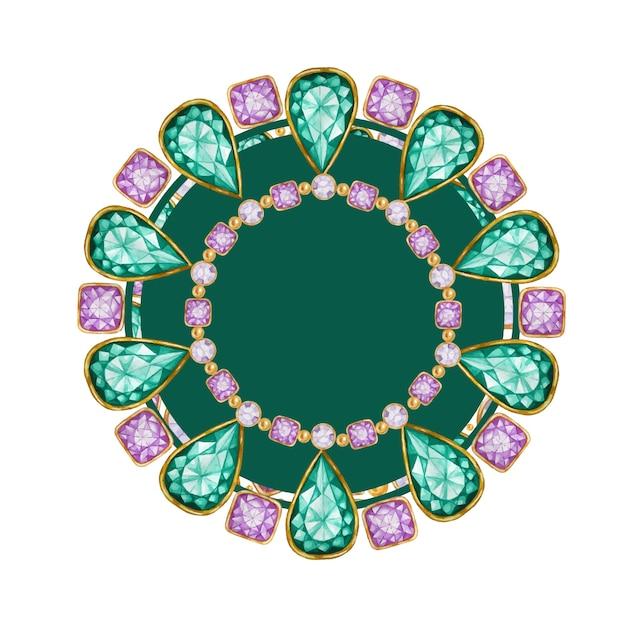 Goccia verde smeraldo, gemma di cristallo viola quadrata e rotonda con cornice in oro. braccialetto luminoso con disegno ad acquerello con bordo in cristalli. Vettore Premium