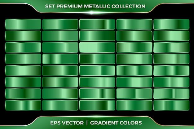 Verde smeraldo turchese raccolta di sfumature ampia serie di modelli di tavolozze metalliche Vettore Premium