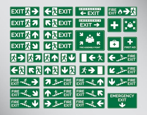 Segni di uscita verde di emergenza, icone e simboli set template design Vettore Premium