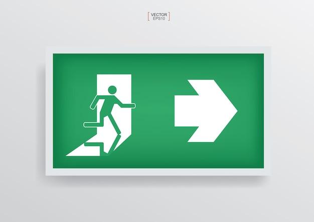 Simbolo della porta di uscita antincendio di emergenza verde Vettore Premium