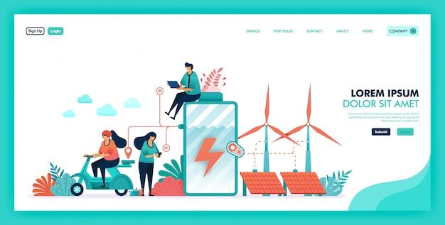 Energia verde ed ecologica risparmio batteria ed energia verde Vettore Premium