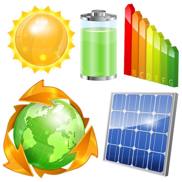 Set di energia verde Vettore Premium