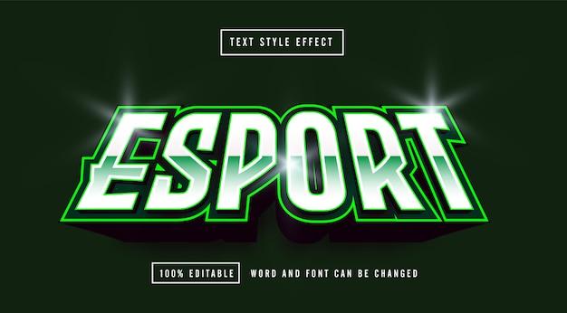 Effetto di testo modificabile del logo di gioco green esport Vettore Premium