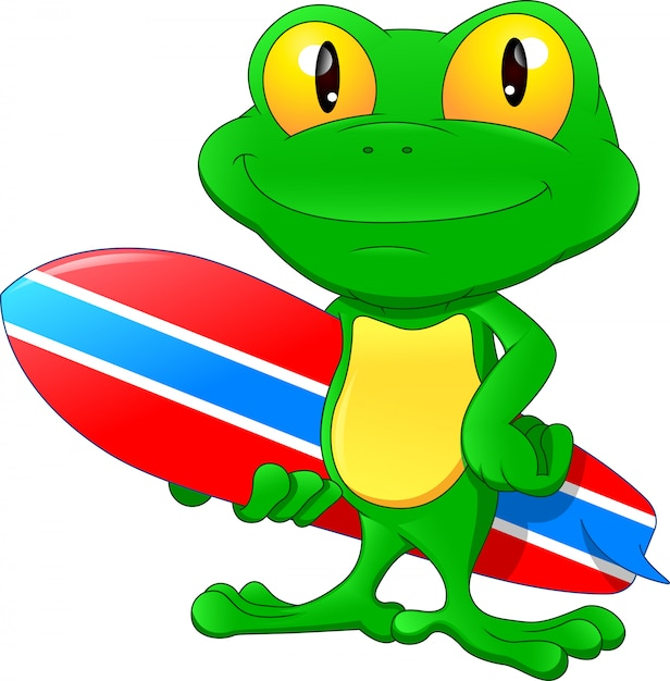 Bordo praticante il surfing della tenuta del fumetto della rana verde Vettore Premium