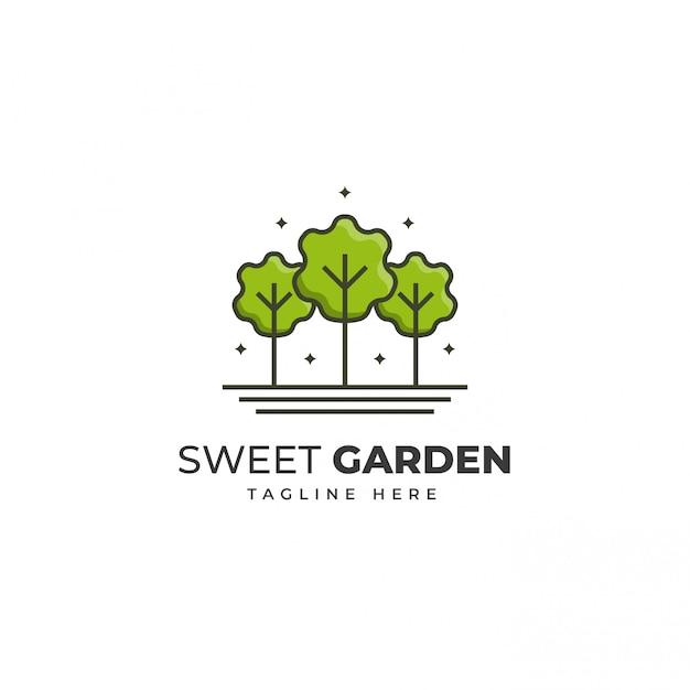 Modello di logo del giardino verde Vettore Premium