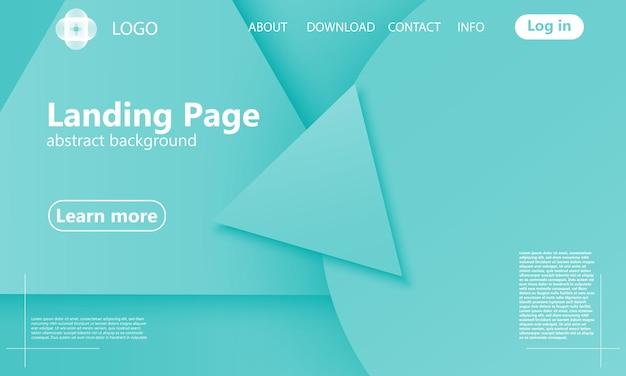 Pagina di destinazione geometrica verde. Vettore Premium