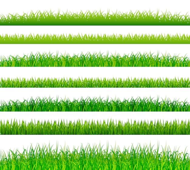 Confini dell'erba verde impostati Vettore Premium