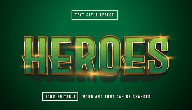 Green heroes text effect modificabile Vettore Premium