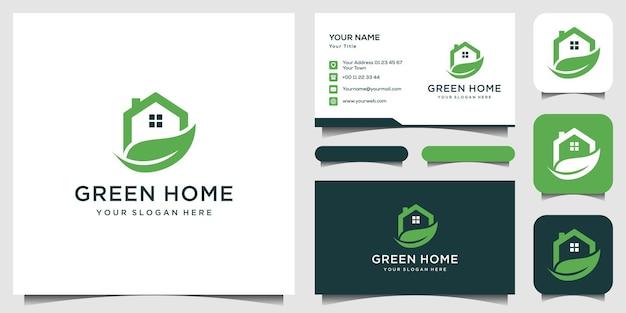 Modello di logo casa verde, biglietto da visita Vettore Premium
