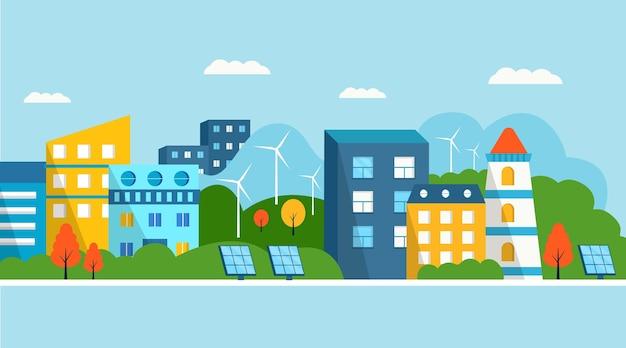 Casa moderna verde con pannelli solari e turbina eolica. energia alternativa ecologica. ecosistema paesaggio urbano. illustrazioni vettoriali piatte Vettore Premium
