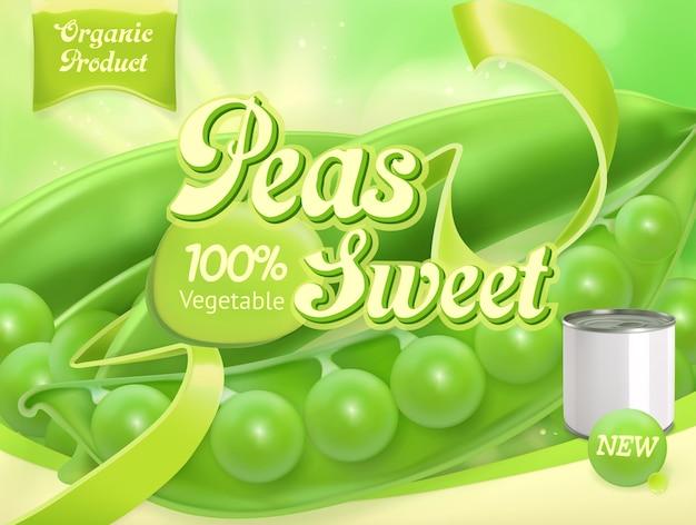 Piselli verdi. realistico, design della confezione Vettore Premium