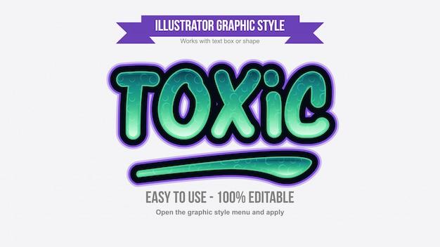 Effetto di testo modificabile cartoonish colorato verde e viola Vettore Premium