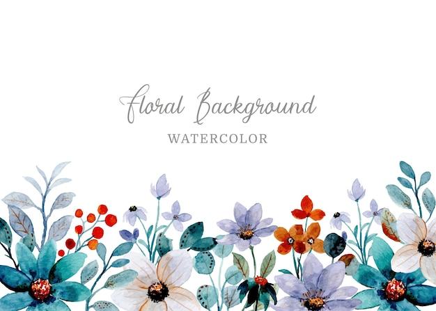 Fondo astratto dell'acquerello floreale viola verde Vettore Premium