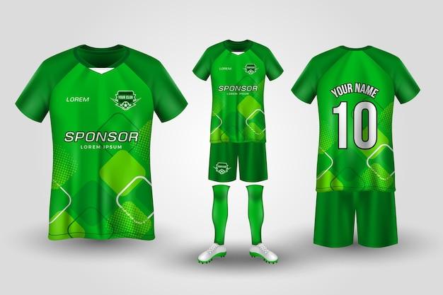 Modello uniforme di calcio verde Vettore Premium