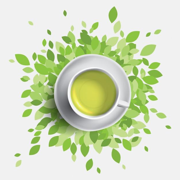 Illustrazione della tazza di tè verde. foglie verdi con una tazza di tè. concetto di salute. Vettore Premium