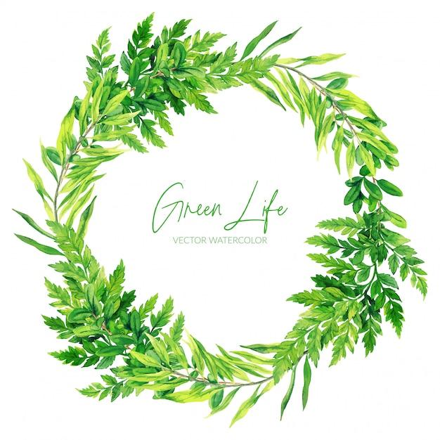 Corona verde delle felci dell'acquerello, illustrazione disegnata a mano Vettore Premium