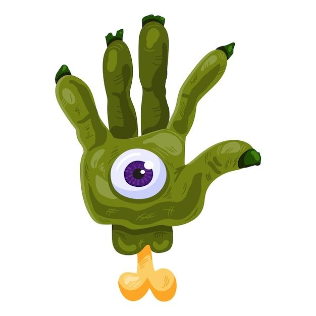 Mano zombie verde con occhio per halloween Vettore Premium