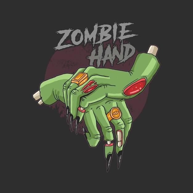 Mani di zombi verdi Vettore Premium