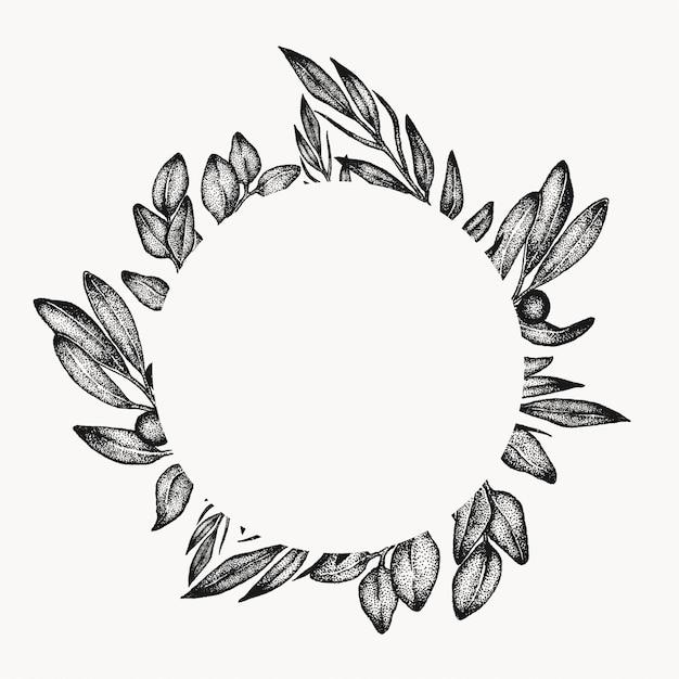 Cornice foglia fogliame verde, elemento di design grafico, cerchio isolato, bordo botanico floreale. composizione tropicale. Vettore Premium