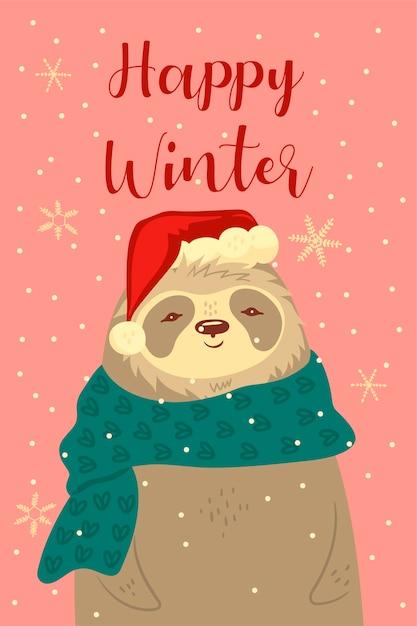 Biglietto di auguri con un simpatico bradipo natalizio. Vettore Premium