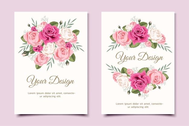 Biglietto di auguri con rosa floreale può essere utilizzato come carta di invito per matrimoni, compleanni e altre vacanze e sfondo estivo. Vettore Premium
