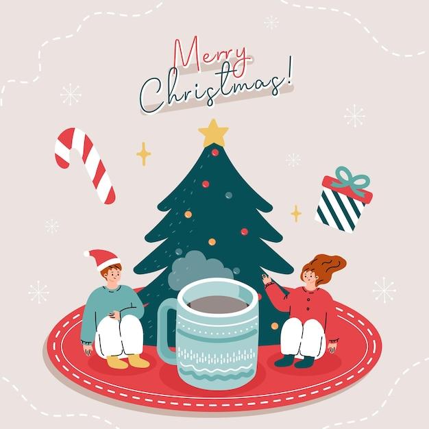 Biglietto di auguri con persone che bevono tè con elementi natalizi Vettore Premium