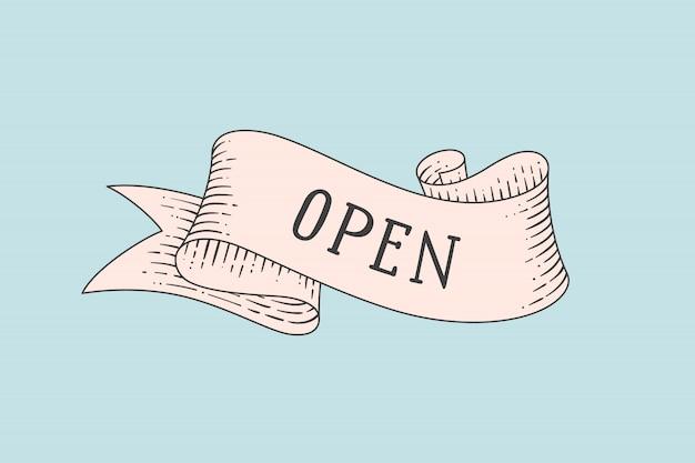 Biglietto di auguri con nastro vintage e parola aperta Vettore Premium