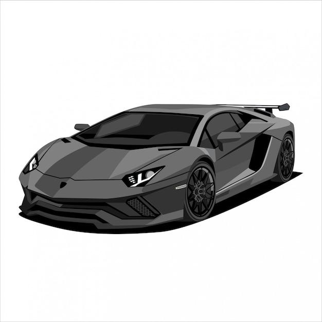 Macchina da corsa grigia, illustrazione dell'automobile sportiva Vettore Premium