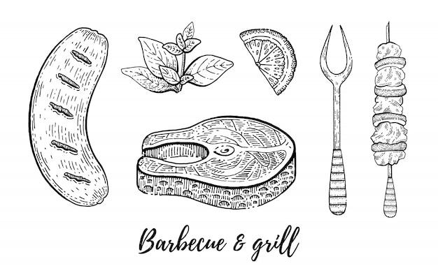 Insieme di schizzo del menu del ristorante grill e barbecue. Vettore Premium