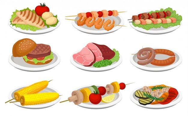 Insieme dell'alimento grigliato, piatti deliziosi per il menu del partito del barbecue, carne e illustrazione vegetariana dell'alimento su un fondo bianco Vettore Premium