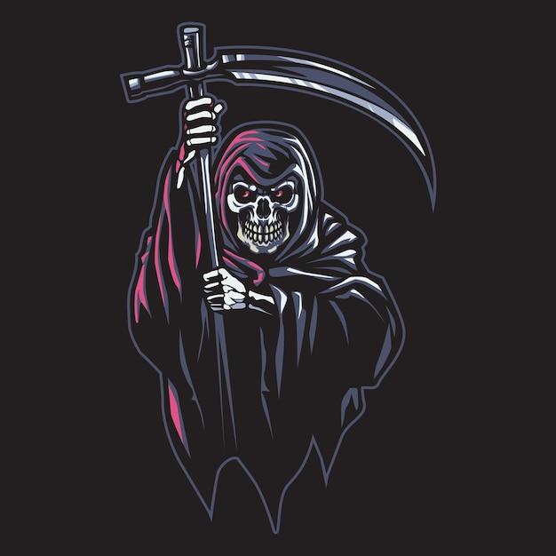 Grim reaper esport logo illustrazione Vettore Premium