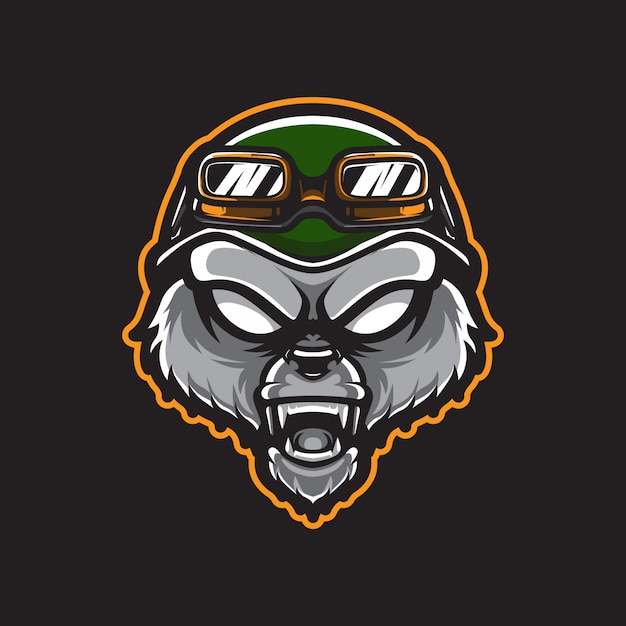 Grizzly army head logo template Vettore Premium