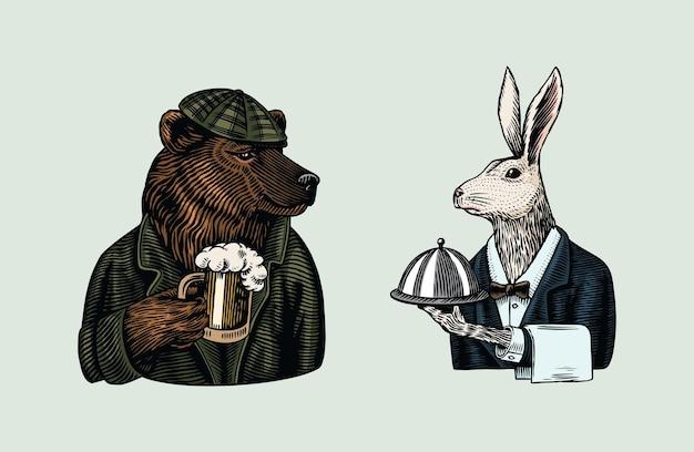 Orso grizzly con un boccale di birra. cameriere di lepre. Vettore Premium