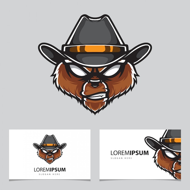 Grizzly police head logo name card template Vettore Premium