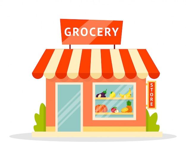 Illustrazione piana della facciata del negozio di alimentari Vettore Premium