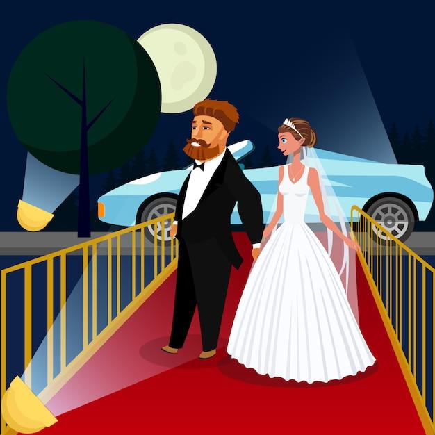 Sposo e sposa all'illustrazione di vettore di evento di vip. Vettore Premium