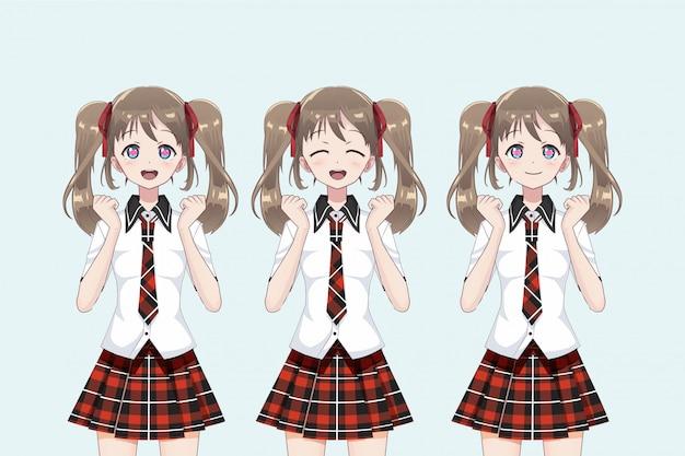 Gruppo di anime (manga) ragazze di studentesse, in stile giapponese. Vettore Premium